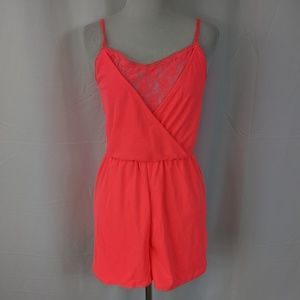 H&M Divided Hot Pink Romper with lace detailing